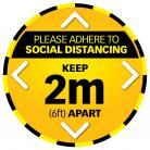 5 x Social Distance Warning Circle - Yellow/Black
